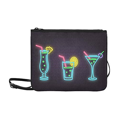 WYYWCY Schöne schöne Cocktail Glas Muster benutzerdefinierte hochwertige Nylon Slim Clutch Bag Cross-Body Bag Umhängetasche