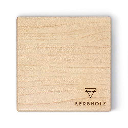 Kerbholz Holz Deko - Magnetleiste aus echtem Ahorn Holz, Multifunktional: Schlüsselbrett aus Holz, Messermagnet mit starkem Magnet, Schreibtischorganizer, Badezimmer Deko, 80mm x 80mm x 30mm