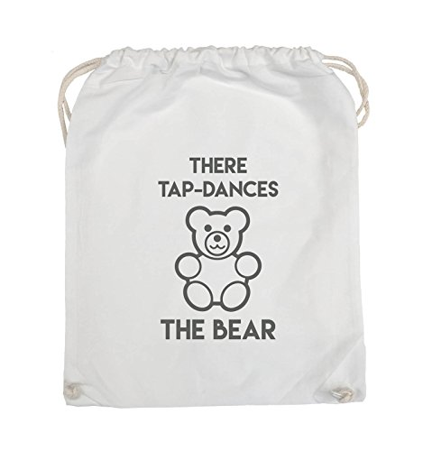 Comedy Bags - THERE TAP DANCES THE BEAR - Turnbeutel - 37x46cm - Farbe: Schwarz / Pink Weiss / Grau