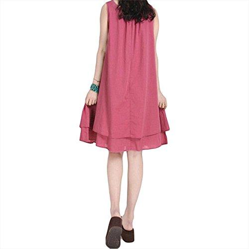 Retro besticktes Kleid beiläufiges loses Kleid Red