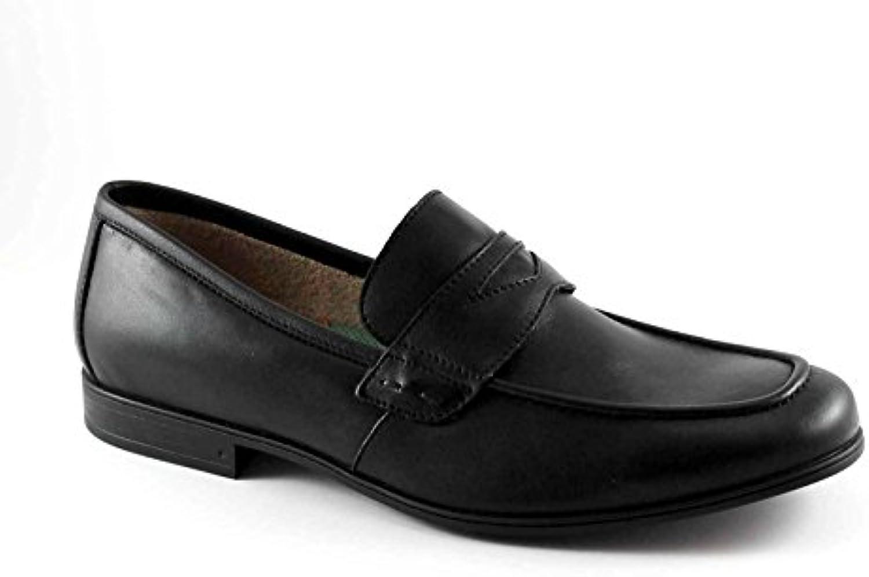 LEÓN 20685 zapatos negros de cuero mocasín de hombre antiestático