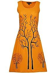 Mesdames robe sans manches avec des branches d'arbre conception hiver d'impression