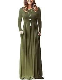 79687f6a20da Minetom Donna Elegante Girocollo Manica Lunga Vestito Lungo Casual Sciolto  Tinta Unita Maxi Abito Da Sera