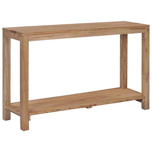 Festnight- Konsolentisch mit einem zusätzlichen Ablageboden Teak-Massivholz 120 x 35 x 75 cm (L x B x H) Natürliche Holzfarbe