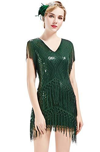ArtiDeco 1920s Charleston Kleid Mini Damen Vintage Gatsby Kostüm Flapper 20er Jahre Cocktailkleid (Dunkelgrün, M)