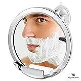 Elegante espejo de ba/ño de acero y pl/ástico Pr/áctico espejo cuadrado con 2 ganchos para maquinillas de afeitar mDesign Espejo con ventosa para afeitarse en la ducha plateado mate