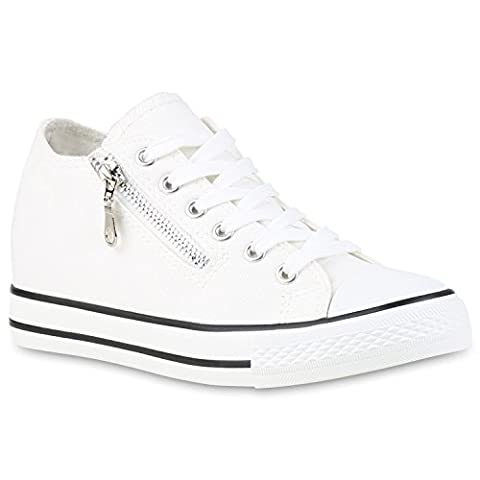 Damen Sneaker Wedges Keilabsatz Sneakers Glitzer Zipper Wedge Turn Metallic Schuhe 123497 Weiss 38 |