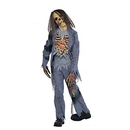 Zombie Gr. 164 162 Skelett Halloween Kostüm Kinder Halloweenkostüm Kinderkostüm (Skelett Zombie)