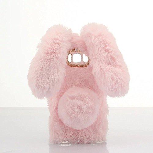 Schutzhülle für iPod Touch 6, Lovely Warm Handmade Bunny Furry Luxus Bling Kristall Strass Soft Beaver Rex Kaninchen Ohr Fell Schutzhülle für Apple iPod Touch 56. Generation, A Rabbit-Pink - Furry Ipod 5 Touch Fällen