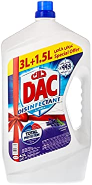 Dac Disinfectant Lavender Floor Cleaner 4.5 liters. Kills 99.9% of germs & bact