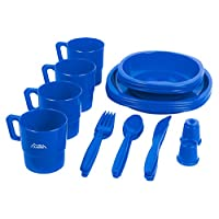 Andes Large 4 Person Plastic Camping/Picnic Dinner Plate, Bowl, Mug & Cutlery Set