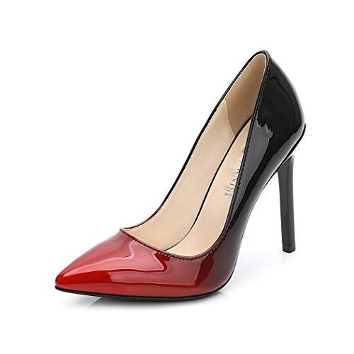 Red Patent Peep Toe Pumps (Jeff-chy High heelsWomen es High Heels Pointed Shallow Kouth Stiletto Women ' s Shoes Gradient Color Patent Leder Große Größe High Heels 11Cm,Red,42)