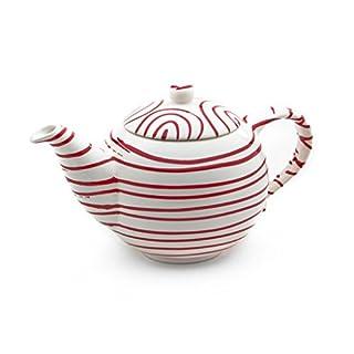 Gmundner Keramik Manufaktur 0182KTGL10 rotgeflammt Teekanne glatt, 1,5L