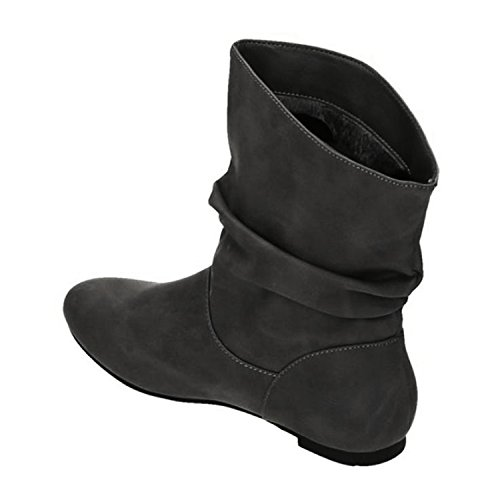 Damen Stiefeletten Cowboy Western Stiefel Boots Flache Schlupfstiefel Schuhe 89 Grau