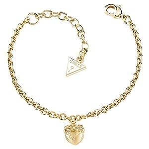 Guess Damen-Armband Herz Messing Glas weiß 18.5 cm - UBB21571-S