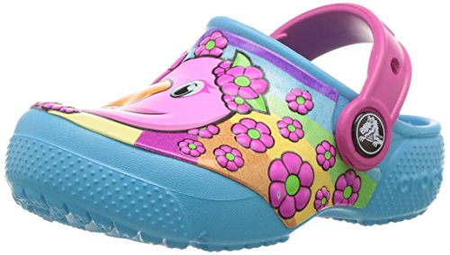 crocs Unisex-Kinder Funlabclogk Clogs, Mehrfarbig (Flamingo/Electric Blue), 28-29 EU