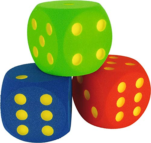 toffwürfel | 3X Spielwürfel aus Schaumstoff in Blau, Grün, Rot | 16x16x16 cm | Formbeständig, farbfest, ausgefräste Zahlen | Ab 3 Jahren | Markenqualität ()