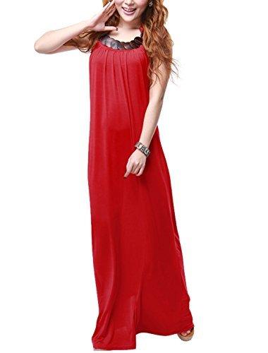 Women Halter Neck Wood Chips Decor Elastic Back Backless Red Dress