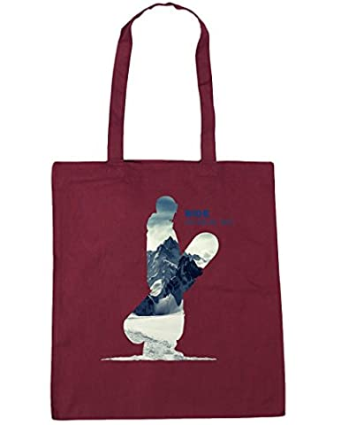 Hippowarehouse RIDE Snowboard mountain silhouette Tote Shopping Gym Beach Bag