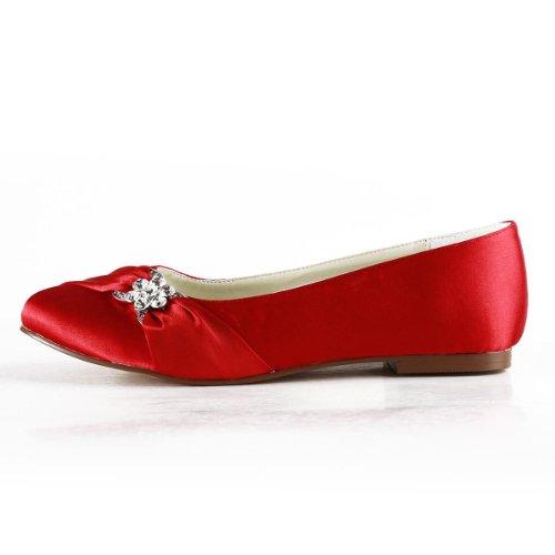 Elegantpark EP2006 Satin Bout Ferme Arc Glitte Plates Femme Chaussures de Mariage Rouge