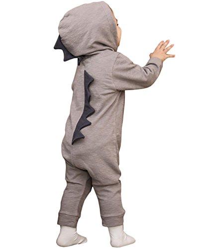 Minetom Bebé Recién Nacido Manga Larga Dinosaurio De La Historieta Abrigo Ropa Una Pieza Peleles Pijamas Mameluco Niños Niñas Monos Gris 4-5 Meses (62)