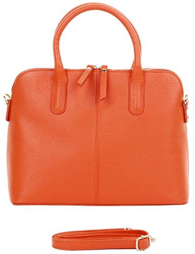 Primo Sacchi ® italienisches texturiertes Leder Orange Hand gemachte Bowling Stil Handtasche Tote Grab Tasche oder Schultertasche. Beinhaltet einen Markenschutz-Aufbewahrungsbeutel