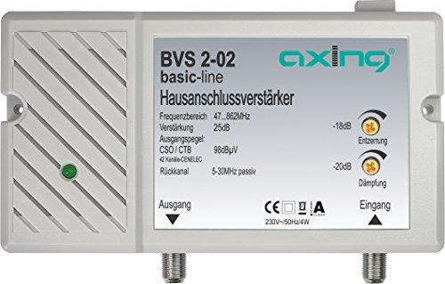 Axing BVS 2-02 Hausanschlussverstärker 25 dB für Kabelfernsehen digital (47-862 MHz, Rückkanal 5-30 MHz) Kabel-digital-signal