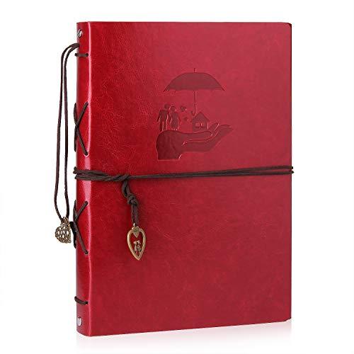 Minlna album scrapbook,viaggio album fotografico in pelle album fotografico fai-da-te retro sketch book san valentino regali anniversario compleanno per il mamma papà fidanzata (rosso-lovers)