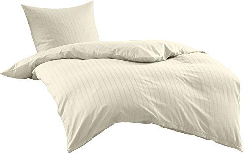 Bettwaesche-mit-Stil Mako Satin Damast Streifen Bettwäsche Garnitur Lima gestreift mit Reißverschluss (Natur, 135 x 200+ 80 x 80) - Satin Streifen