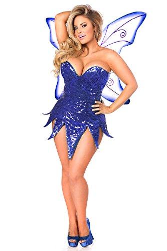 Daisy Corsets Gänseblümchen Korsett, für Damen, obere Schublade, Übergröße, Blau mit Pailletten - Blau - 3X (Übergröße Fairy Kostüm)