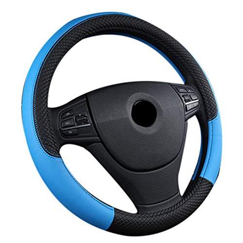 Cikuso Leder Universal Auto Lenkrad Abdeckung 38 cm Auto Styling Sport Auto Lenkrad Bezüge Anti-Rutsch Auto Zubeh?r Schwarz und Blau