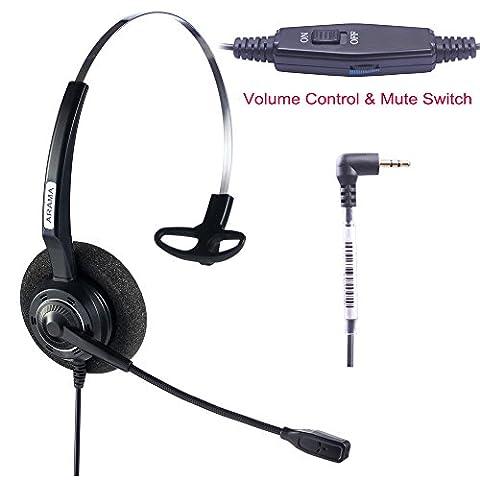 Arama casque 2,5mm mono avec micro avec suppression de bruit Volume Mute pour Cisco Linksys Spa Polycom Panasonic Zultys Gigaset Grandstream Bureau IP et téléphones sans fil DECT (A200s-cp)