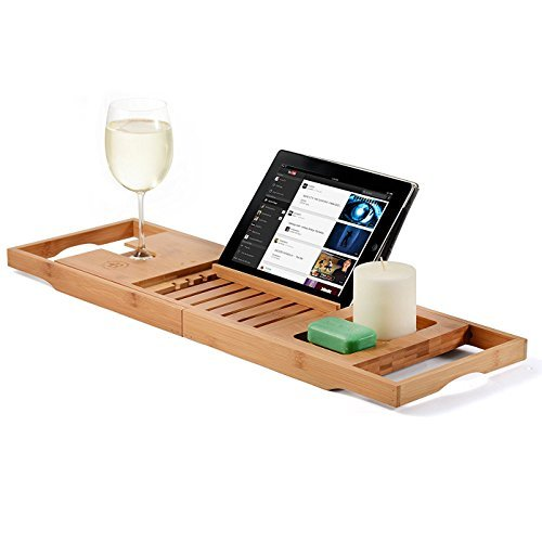 Bambüsi 100% en Bambou Baignoire Caddy avec enroulement Côtés, Lecture de Téléphone Portable, Plateau et Support de Verre à vin Intégré