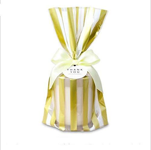 SMHILY 100pcs Gold Stempel Polka Dot gestreiften Keksbeutel Süßigkeiten Verpackungsbeutel Keksdessert Taschen Party Geschenkverpackung Taschen zugunsten Versorgung