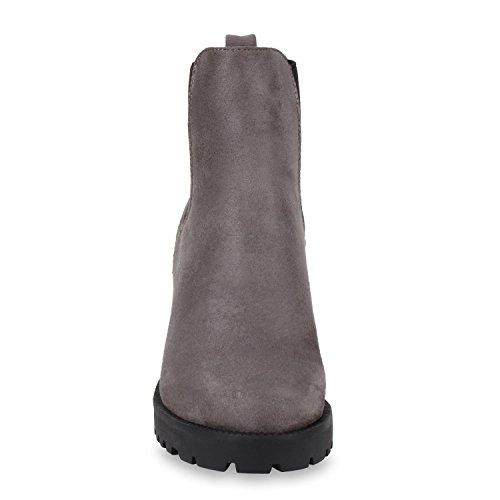 Damen Stiefeletten Chelsea Boots Profilsohle Schuhe Grau