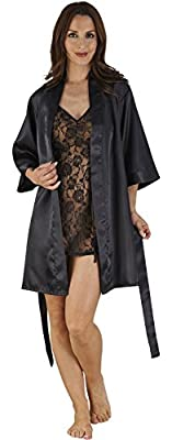 Seductive Ladies 2 Piece Lace Chemise & Satin Kimono Set with 3/4 Length Sleeves & Satin Tie Belt, Negligee, Black
