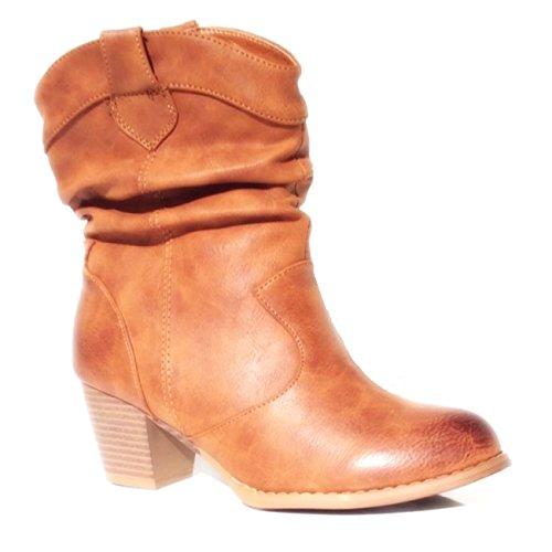 Damen Stiefeletten Cowboy Western Stiefel Boots Schlupfstiefel Schuhe 37 (38, Camel)