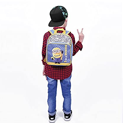 412hpXbIzfL. SS416  - PERLETTI - Mochila de Niño Niña de Mi Villano Favorito Azul Amarillo - Bolso Escolar con Bolsillo Frontal Estampado Bob de Los Minions - Bolsa Escuela Viaje con Tirantes Regulables - 30x24x6,5 cm