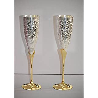Avs Stores ® Engraved Silver Plated Pure Brass Premium Goblet Champagne Flutes Coupes Wine Glass(Set Of 2)