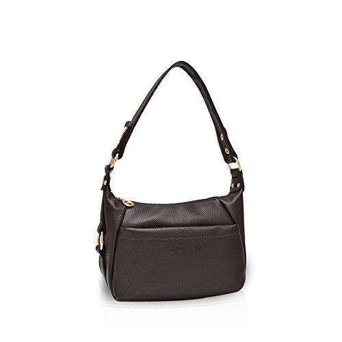 NICOLE&DORIS Neue Damen Handtaschen Umhängetasche Tasche Crossbody Tasche Reisetasche PU Lila A Braun