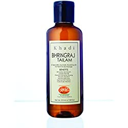 KHADI Bhringraj Oil - Anti Hairfall & Stimulates Hair Growth - Herbal & Ayurvedic - 210 ml