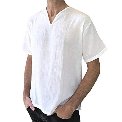 Crazboy Männer Weinlese Breathable dünne V-Ansatz Feste lose Kasten-Taschen-T-Shirt-Blusen(Large,Weiß-B)
