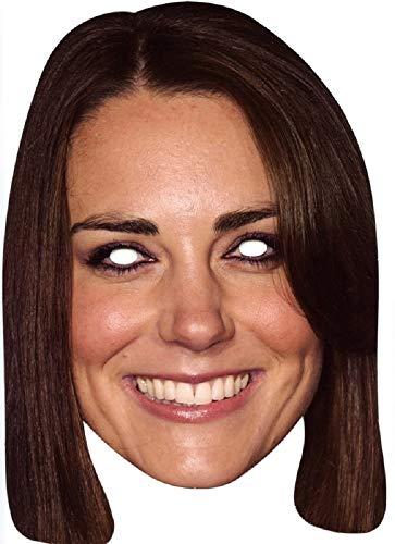 Party-Maske Royals aus hochwertigem Karton Großbritannien England GB Königin Prinz Herzogin Funny Masks Celebrity Pappe, Variante:Herzogin Kate (Queen Royal Kostüm)