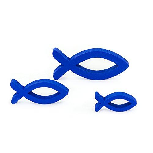 Oblique Unique® Deko Fisch 3er Set Königsblau aus Holz - Tisch Deko für Taufe, Kommunion und Konfirmation