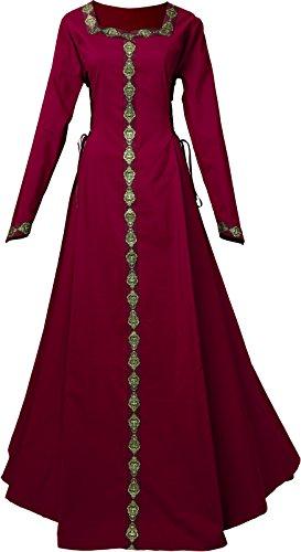 Dornbluth Damen Mittelalterkleid Estelle (52/54, Bordeaux)
