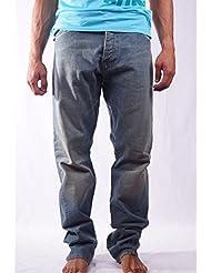 Atikin Parallel Pantalones Vaqueros, Hombre, Azul, 32