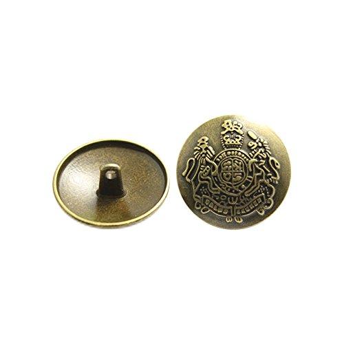 Metallknöpfe Pilz-Ösenknöpfe Windbreaker legere Anzug Mantelknöpfe, 12Stück, braun, 20 mm