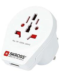 SKROSS World to UK USB Charger: Reiseadapter für Reisen in Länder, die den britischen Standard verwenden; inklusive integriertem USB-Port (2100 mA)