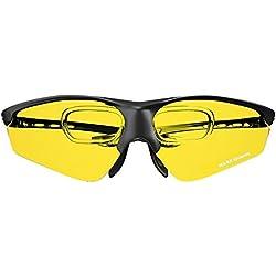 Mars Gaming MGL3 - Gafas Protectoras para Gaming (diseño Deportivo y Ligero, Cristal Amarillo, Lentes de policarbonato, Filtro luz Azul, aptas para usarse Sobre Gafas graduadas) Color Negro