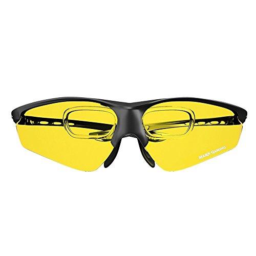 Mars Gaming MGL3 - Gafas protectoras para gaming (diseñadas para mejorar tu rendimiento, anti-fatiga, cristal amarillo), negro